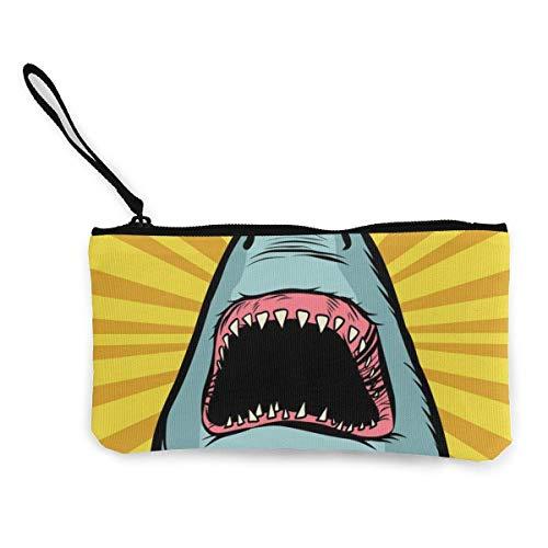 Shark Ocean Predator Marine Fish and Water Parks Lindo Monedero de Lona con de Moda con Cremallera Bolsa de Maquillaje con Correa para la muñeca Bolsa de teléfono en Efectivo 8.5 x 4.5 Pulgadas