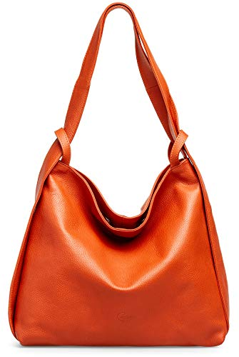 Caspar TL786 Damen Leder 2 in 1 Schultertasche Rucksack, Größe:One Size, Farbe:rost (orange)