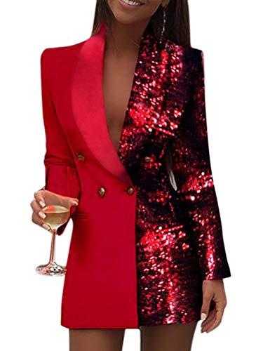 Minetom Damen Blazer Kleid Frauen Elegant Langarm V-Ausschnitt Hemdkleid Business Lange Knopf Anzug Spleißen Glitzer Minikleider Rot 34