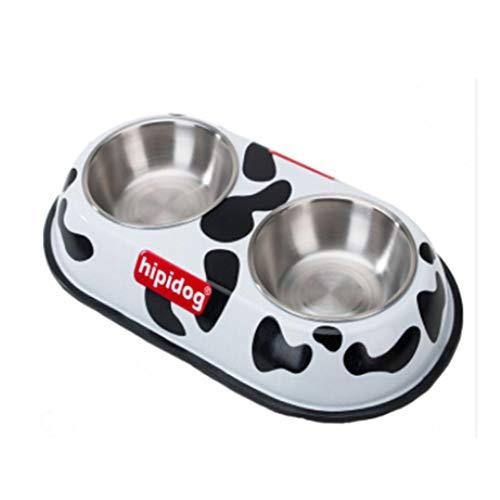 YANQ Bols pour Chiens en Acier Inoxydable Set Feeder Bols De Nourriture Et d'eau avec No-Spill Tapis en Silicone Pet Bol pour Chien Pet (MODÈLE : Black Spot, Taille : 39 * 21 * 5cm)