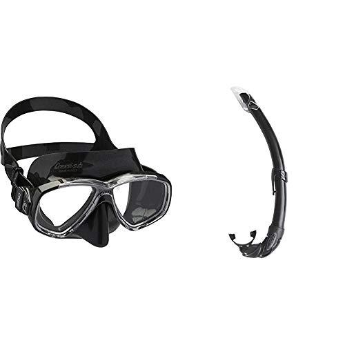 Cressi Perla Gafas de Snorkeling, Unisex Adulto, Negro, Talla Única + Mexico Tubo de Snorkel, Unisex-Adult, Negro, Un tamaño
