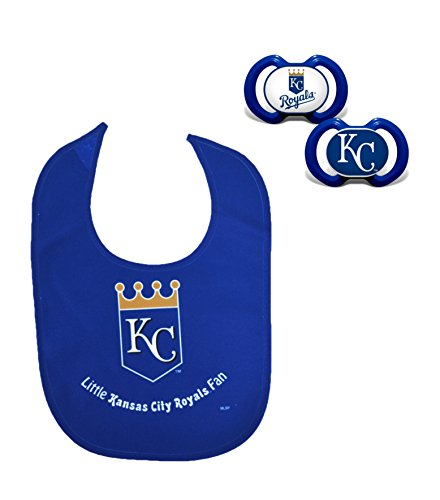 Official MLB Fan Shop Authentic Baby Pacifier and Bib Set. Start The Little Ones Out Early in Joining The Number One Major League Baseball Fans (Kansas City Royals)