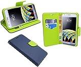 ENERGMiX Elegante Buch-Tasche kompatibel mit LG X-CAM in Blau-Grün (2-Farbig) Leder Optik Wallet Book-Style