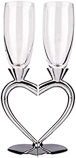 heart shaped toasting flutes