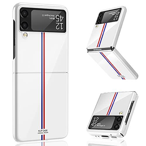 Vizvera Kompatibel mit Samsung Galaxy Z Flip 3 Hülle 2021, Ultra dünn Folable PC Handyhülle Stoßfest Kratzfest Schutzhülle für Samsung Galaxy Z Flip 3 5G (Weiß)