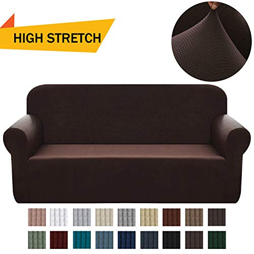 Chelzen Stretch Sofa Covers 1-Piece Polyester Spandex Fabric Living Room Couch Slipcovers (Large, Dark Brown)