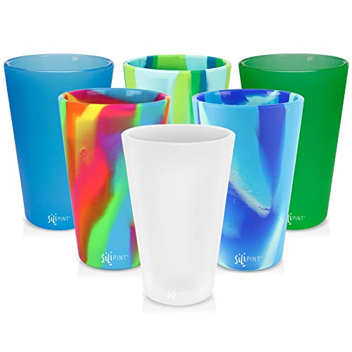 Silipint Silicone Pint Glass Set, Patented, Shatter-proof, Unbreakable Silicone Cup Drinkware (6-Pack, Tie-Dye w/Solid Mix)