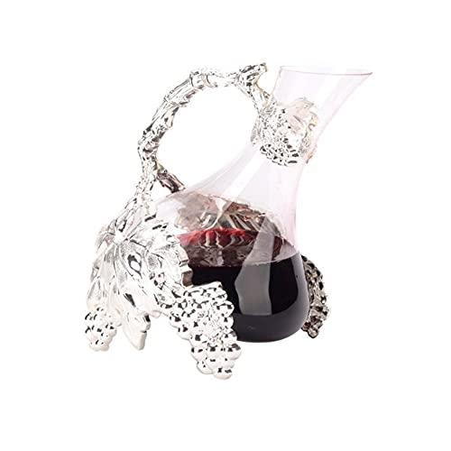 MQQ Decantador De Vinos, 1000 Ml De Aleación Forma De Vid De Diseño Aerador De Vinos Clásicos, Regalos De Vino Carafe DE Vino Rojo, Accesorios De Vino, Adecuado para Banquetes, Negocios, Bodas