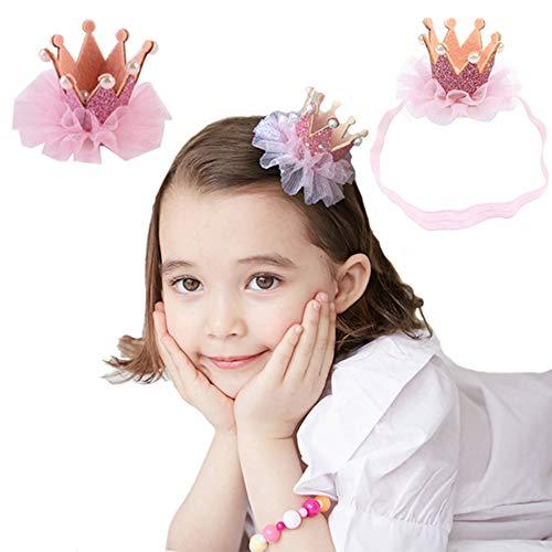 G-Tree Bébé enfant en bas âge de fête d'anniversaire de la Couronne Tiara Bandeau épingle à cheveux avec boîte-cadeau, le meilleur cadeau pour votre petite fille - Rose