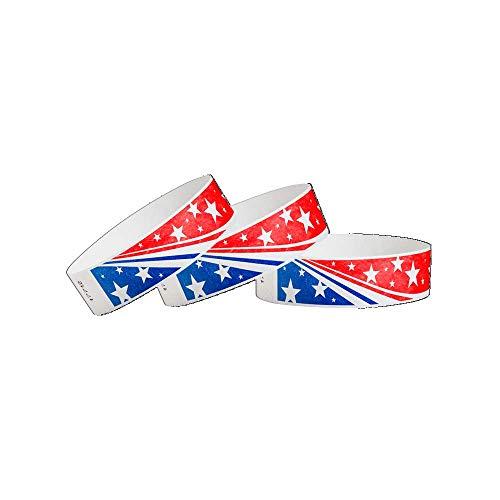 Wristco Star Stream usa 3/10,2cm Tyvek Wristbands 500 Count Star Stream Red, White, Blue