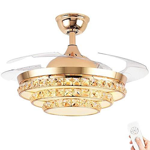 MAMINGBO Luz del ventilador de techo de 42 pulgadas, lámparas de techo silenciosas, invisibles, retráctiles, lámpara de techo con ventilador a control remoto, sala de estar del dormitorio, sala de jue