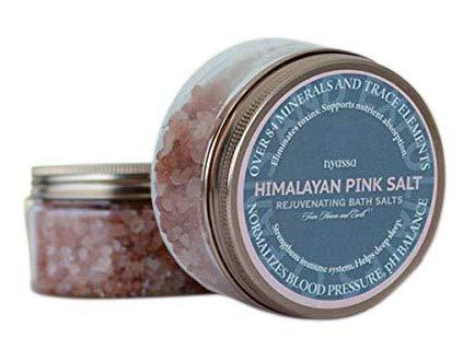 Glamorous Hub Nyassa Himalayan Pink Bath Salt 220g con la bondad de la sal rosa del Himalayan extraída a mano y la sal de Epsom para una desintoxicación eficaz de la piel. Sin SLS SLES y Paraben. Lib