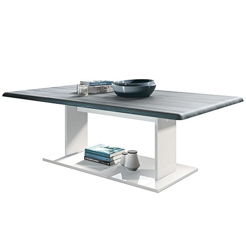 Vladon Coffee Table Side Table Mono in White with Offsets in Avola-Anthracite