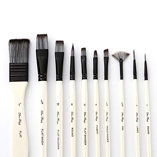 Aibecy 10pcs Paint Brushes Set Kit Multiple Mediums Brushes with Nylon Hair Carry Bag for Artist Acrylic Aquarelle Watercolor Gouache Oil Painting for Great Art Drawing Supplies