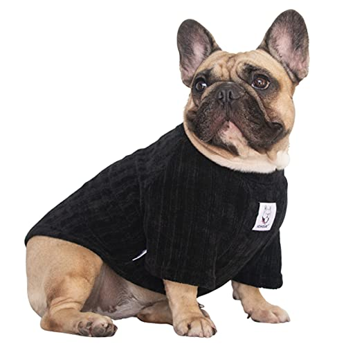 iChoue Pet Dog Winter Warm Sweater Clothes Turtleneck for French Bulldog Pug Boston Terrier Corduroy Cold Weather Pullover Coat Shirt - Black/Size L