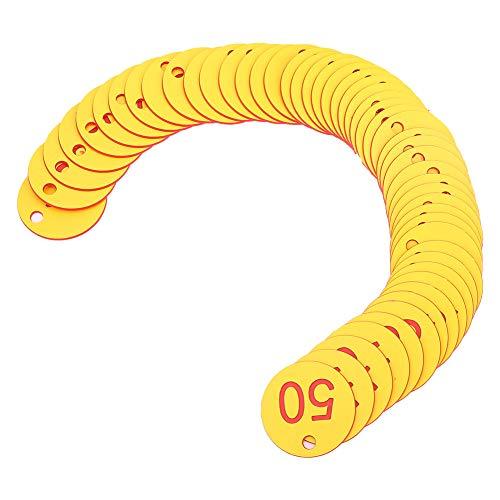 Zwindy Etiqueta numérica de Granja de Larga duración, Etiqueta numerada, para cría de Animales, Apicultura(Red, 1-50/bag)