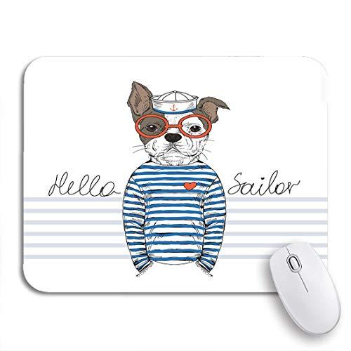 MIGAGA Gaming-Mauspad,Navy Dog Französische Bulldogge Sailor Nautical Furry Animal Cool,Rutschfest Verschleißfestes Und Haltbares Gummi,Mousepad Für Bürocomputer,9.5