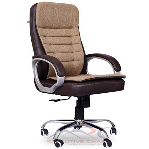 MRC EXECUTIVE CHAIRS ALWAYS INSPIRING MORE M150 Maze Jute High Back Boss Chair/Executive Chair/Revolving Chair/Leather Chair/Director Chair/Leatherette Office Chair (Brown & Cream)