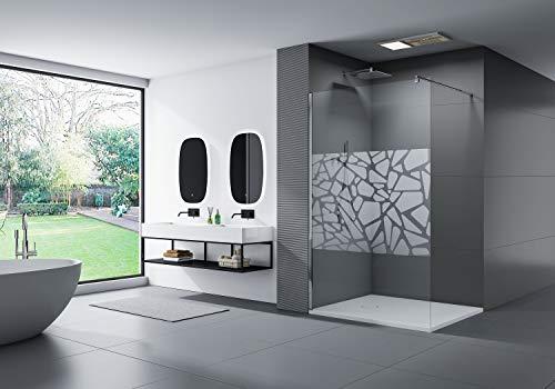 Duschabtrennung Walk-In Nano Echtglas EX101 - Spiegelmuster mittig - Breite wählbar, Breite Walk-In:1500mm