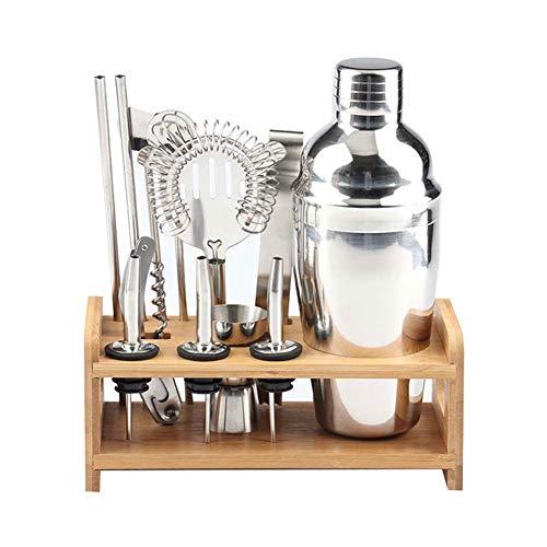 DaoRier Edelstahl Cocktailshaker-Set 12-teilig Cocktail Shaker Bar Cocktailset Bar Cocktailmixer mit Holzchassis, 550ml