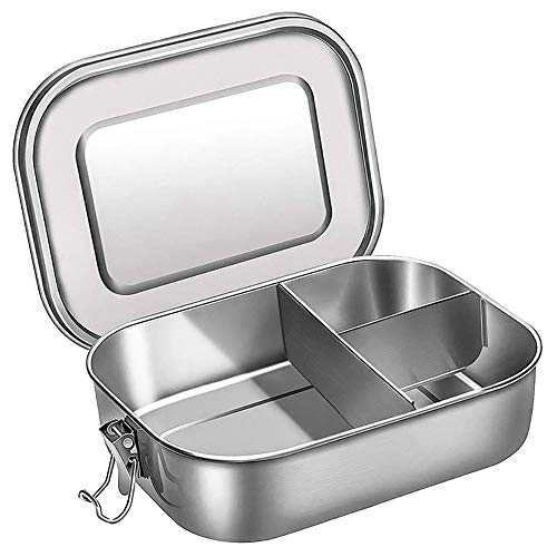 Stainless Steel Bento Box Lunch Container 1400 Ml Food Container Double Buckle Seal with Cover Best for Salads, Sandwiches and Fruit Reusable Lunch Box