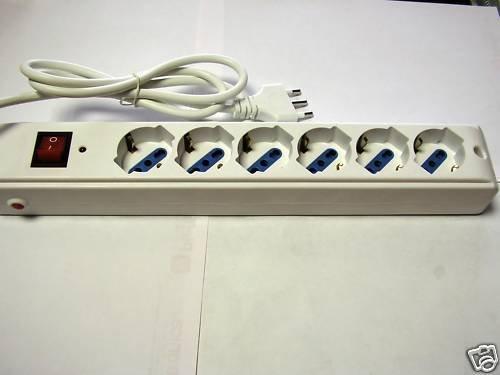 PIEFFE Regleta eléctrica con 6 enchufes Schuko con botón de protección