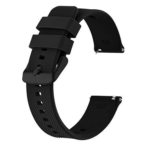 BISONSTRAP Correa de Reloj 19mm, Correas de Silicona de Liberación Rápida para Hombres y Mujeres (Negro)
