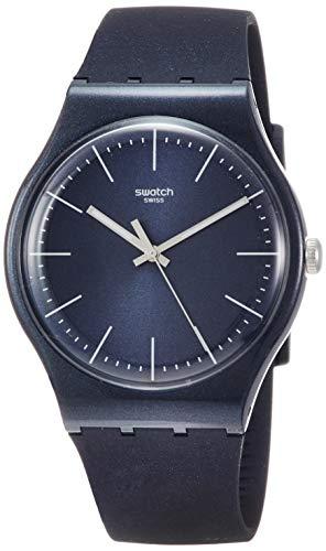 Swatch Damen Analog Quarz Uhr mit Silikon Armband SUON136