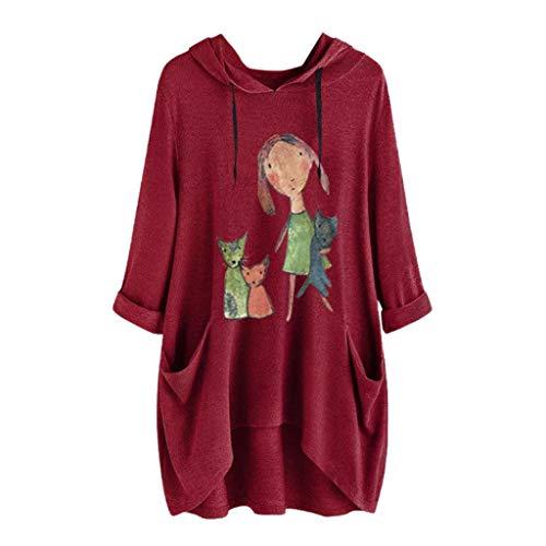 Sudadera con Capucha Cortas para Mujer Adolescentes Chicas Irregular Estampado Orejas de Gato Otoño-Invierno Jersey Manga Larga Suéter Abrigo Hoodie Pullover riou