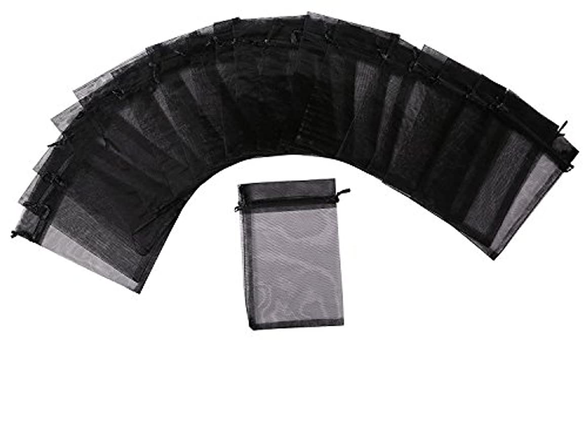 MISSSIXTY 5 x 7 Inch Sheer Organza Gift Bags Black Pack of 50