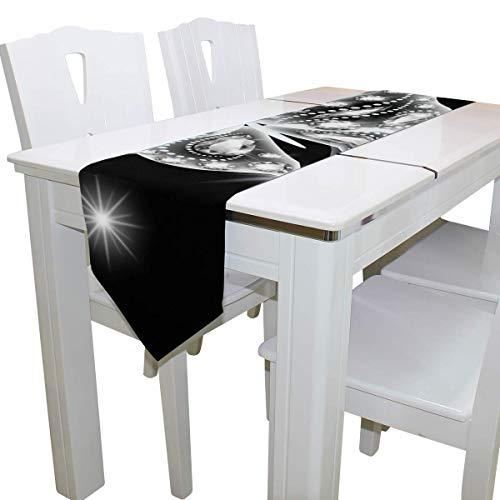 N/A Eettafel Runner Of Dresser Sjaal, Zilver Glitter Vlinder Deck Tafelkleed Runner Koffie Mat voor Bruiloft Partij Banket Decoratie 13 x 90 inch