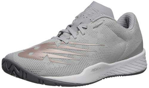 New Balance Women's 896 V3 Hard Court Tennis Shoe, Grey/Champagne/Light Mango, 9.5 W US