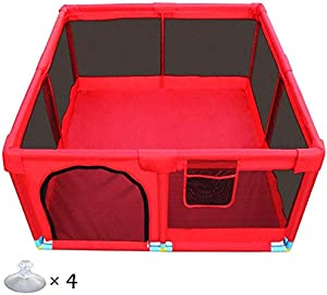 H aetn Playpens Portable Large Indoor Baby Kids Play Yard Panel Activity Center  Foldable Outdoor Children Toddler Security Fence  Red
