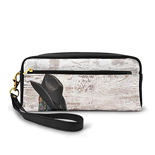 Pencil Case Large Capacity Pen Pouch Stationery Foldable,Traditional Rodeo Cowboy Hat And Cowgirl Boots In A Retro Grunge Background Art Photo,with Zipper for Teens and Adults