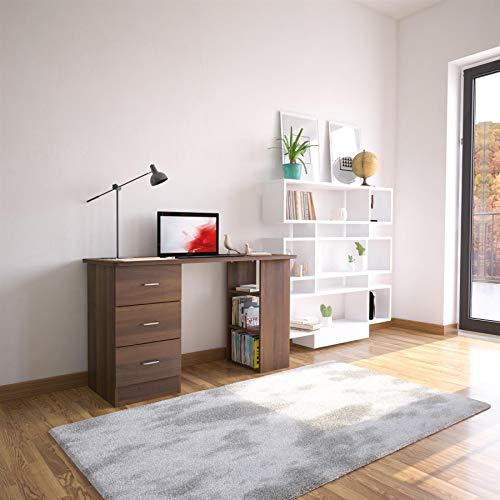 Escritorio Nogal Oscuro con cajones y Almacenamiento para Oficina en casa - Piranha Furniture Guppy