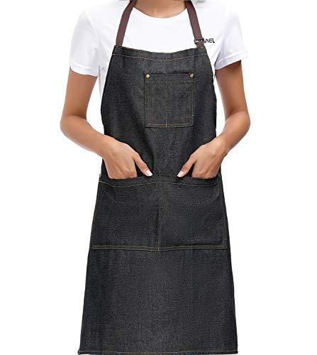 Einstellbare Jeansschürze Professionelle Qualität Mit 3 Taschen Cooking Chef Damen Herrenschürze Geeignet für Wohnküchen, Restaurants, Kaffee, Bistro 100% Baumwolle Schwarz Cowboy