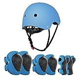 JIM'S STORE Casco y Protecciones Ajustable Infantiles Rodilleras Coderas,Set di Casco 7 Piezas para Scooter Ciclismo Rodillo Patinaje