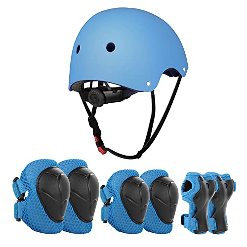 JIM'S STORE Casco y Protecciones Ajustable Infantiles Set Rodilleras Coderas para Bicicleta Scooter Ciclismo Rodillo Patinaje(Azul)