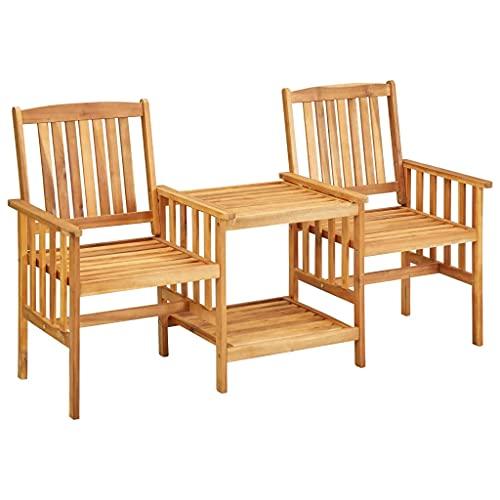 vidaXL Bois d'Acacia Solide Chaises de Jardin avec Table à Thé Salon de Jardin Mobilier de Balcon Bistrot Patio Terrasse Extérieur 159x61x92 cm