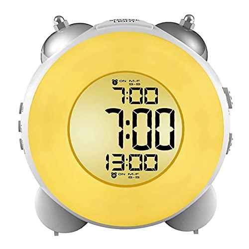 XXH Despertador fuerte sin garrapatas con batería con batería Snooze Dual Alarm Night Light para durmientes pesados