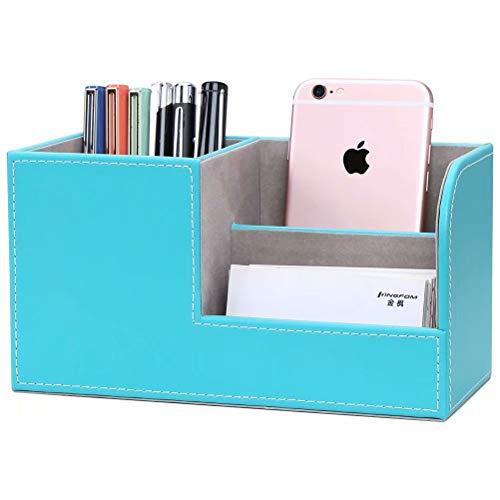 LILAN PUレザー 卓上収納ボックス 卓上収納ケース デスク収納ボックス 文具収納ボックス 鉛筆スタンド ペン立て おしゃれ(青)