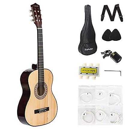 Dawoo Guitarra Española,Kit de guitarra Acústica Con Cuerdas de Guitarra Púas de Guitarra Correa de Guitarra Color Madera (39 pulgadas)