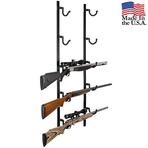 Hold Up Displays USA Made Gun Rack Rifle Shotgun Hanger and Fishing Rod Pole Rack - Black Vein