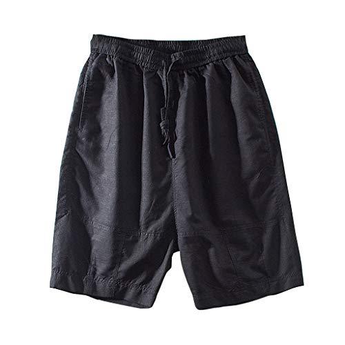 FRAUIT Pantaloni Uomo Corti Eleganti Pantalone Lino Ragazzo Spiaggia Pantaloncini Uomini Sportivi Larghi Pantaloni Elegante Elasticizzati Pantaloni Tuta Leggeri Shorts Uomo Mare Bermuda Pantaloncino