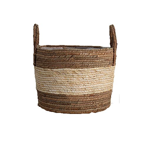 EBAYIN Natural Seagrass Basket, Flower Baskets Portable Garden Flower Pot Handmade Belly Basket Rattan Straw Basket For Knitting/Toy/Laundry/Storage/Plant,M