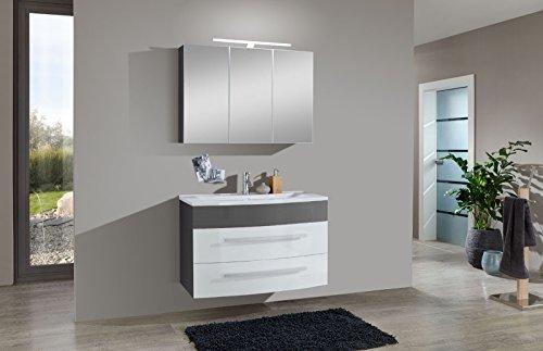 SAM Badmöbel-Set 2-TLG, Genf, Hochglanz weiß-grau, Softclose Badezimmermöbel, Waschplatz 100 cm Mineralgussbecken, Spiegelschrank
