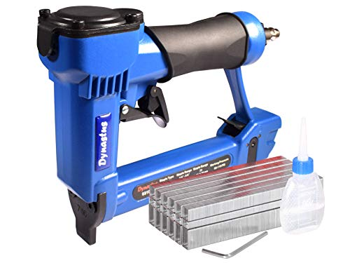 """Upholstery Air Staple Gun, 22 Gauge 3/8"""" Wide CrownPneumatic Stapler Kit, by 1/4-Inch to 5/8-Inch, Blue"""