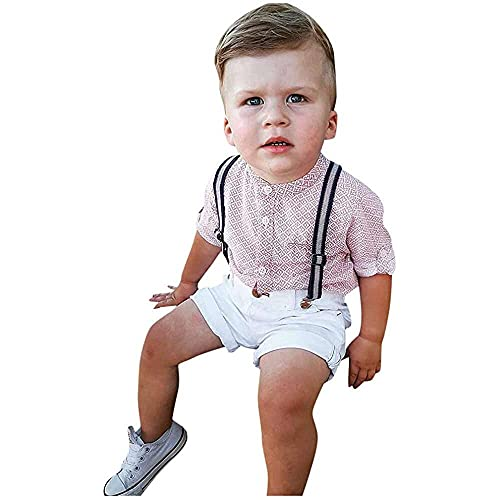nanxing Conjunto de ropa de bebé para caballero y niños, de manga corta, con babero, pantalones cortos y pantalones