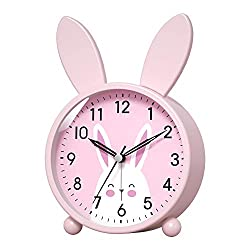 Kpin Analog Alarm Clock for Kids, Easy Set and Lighted on Demand, Beep Sounds, Gentle Wake.,Good for Desk/Bedroom/Bedside(Pink, Small)