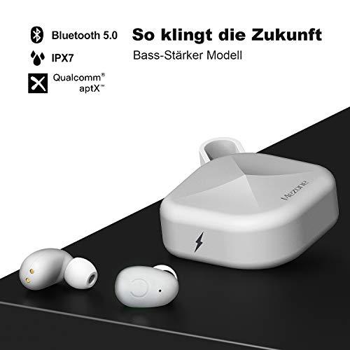 MEZONE TWS-B6 aptX In-Ear Kopfhörer,Bluetooth 5.0 Ohrhörer mit aptX qualifiziert ausgezeichnete Soundqualität, Nano Wasserdicht, Musik und telefonieren, bis zu 80 Std. Spielzeit (Bass-Stärker Weiß)